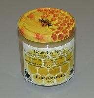 Bienenhonig aus eigener Imkerei, Frühtracht im 500g Glas