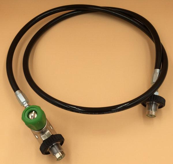 Überstroemschlauch für Sauerstoff, bis 315 bar, ohne Manometer mit Endlüftungsventil