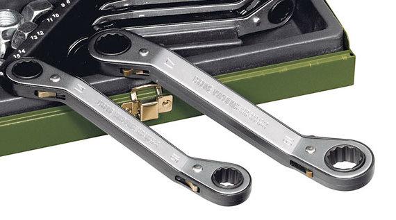 SPEEDER-Ratschenschlüssel 6 x 7 mm, gekröpfter Doppelringschlüssel