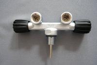 T-Ventil Doppelventil Druckluft 300bar Flaschenhalsgewinde M25x2mm feststehend